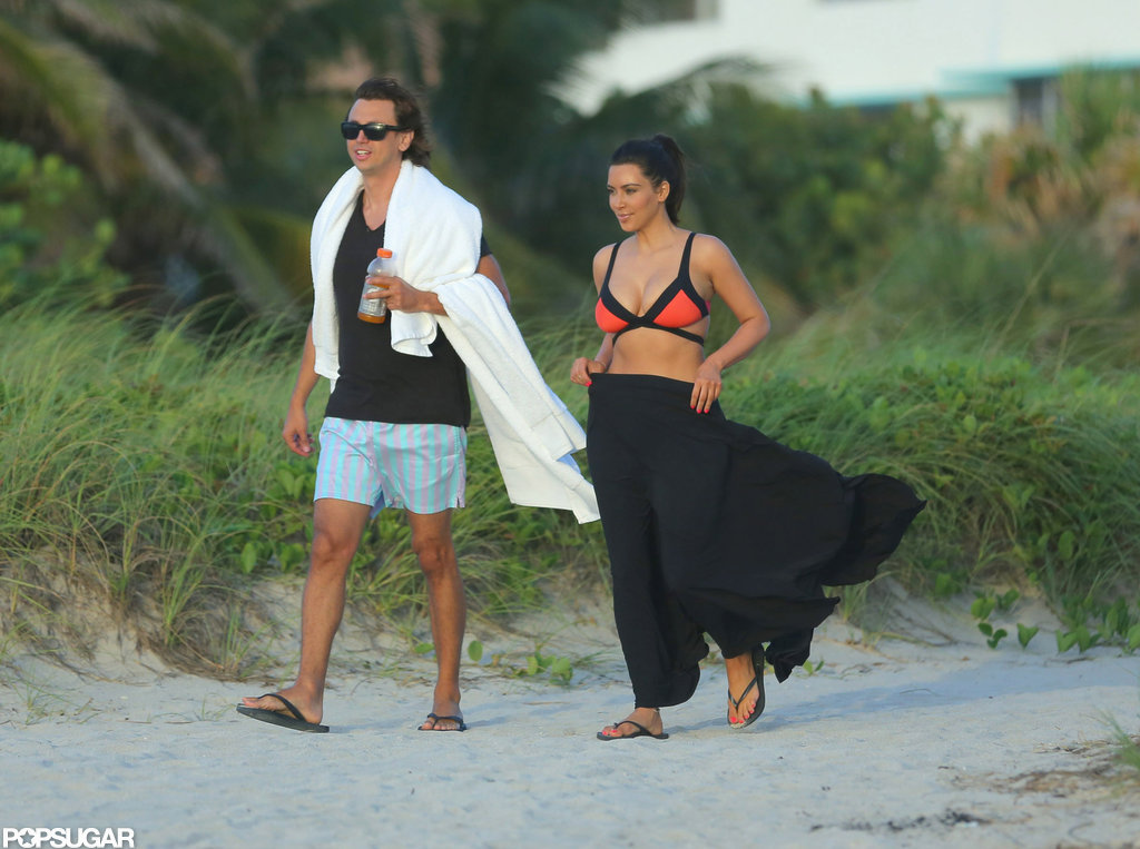 Kim Kardashian paired her bikini top with a sarong.