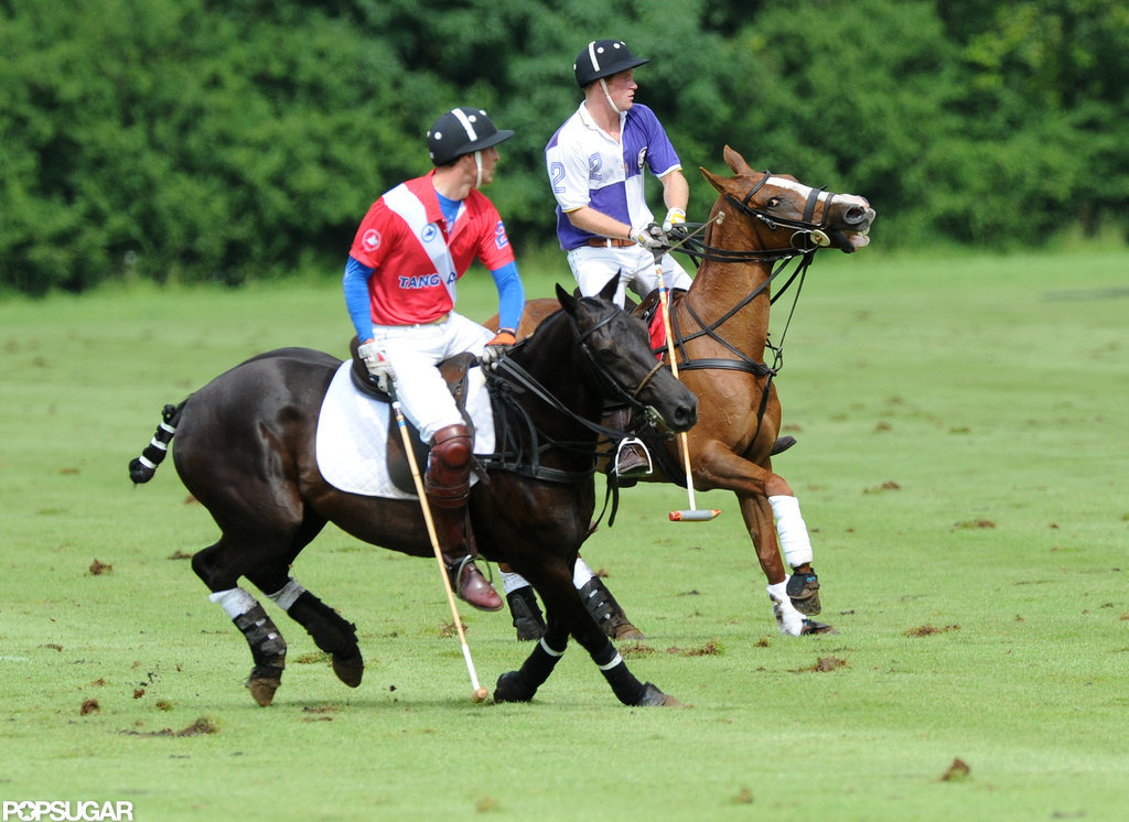 Prince William and Prince Harry rode on their horses side by side.