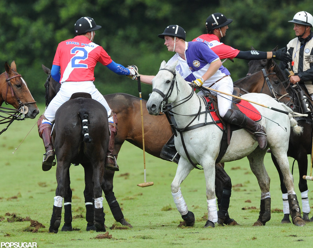 Prince William and Prince Harry shook hands at the polo match while on their horses.
