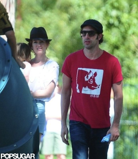 Sacha Baron Cohen and Isla Fisher walked with their youngest daughter, Elula Cohen.