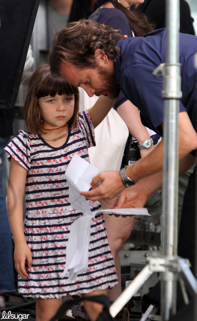 Peter Sarsgaard got a visit from daughter Ramona Sarsgaard on the set of his new film Very Good Girls in NYC.