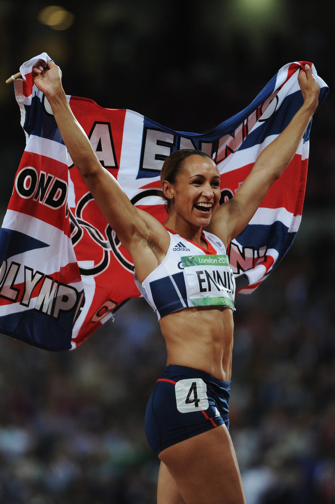 Great Britain's Jessica Ennis celebrated her heptathlon gold with a big smile.