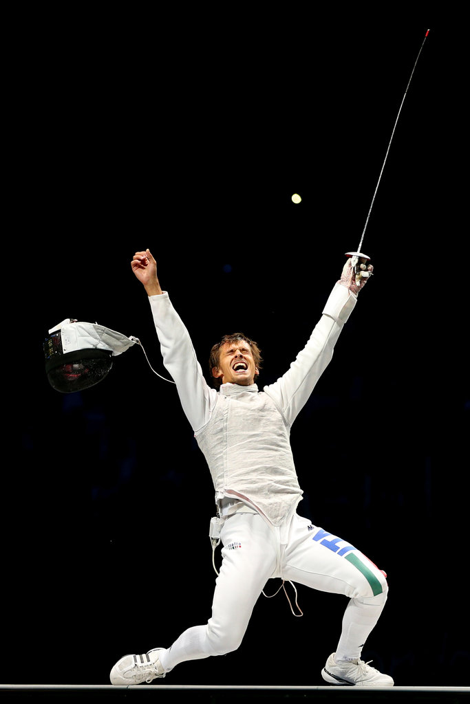 Italian fencer Andrea Baldini showed his happiness over winning gold.