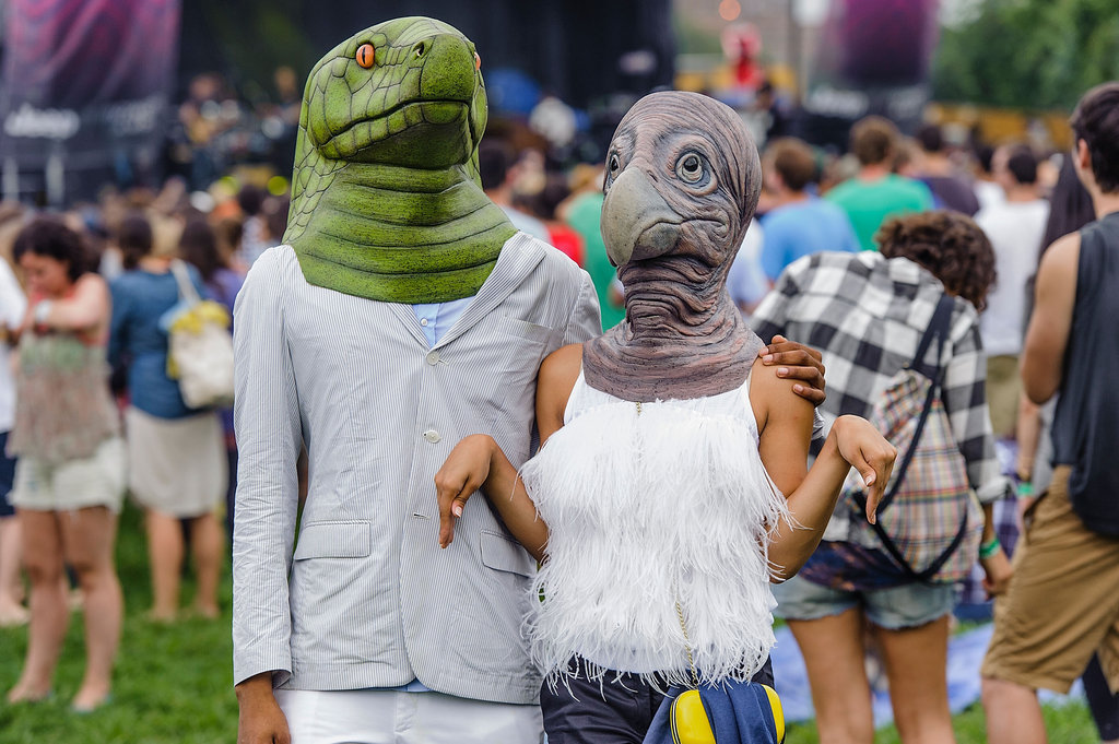 A masked pair of lovebirds attended the Catalpa Festival at Randall's Island in New York City.