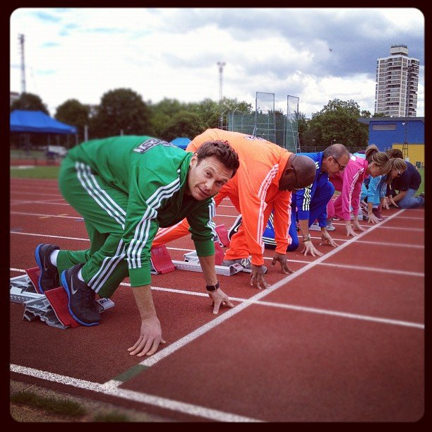 Ryan Seacrest and the American Today team tried their hand at the track. Source: Instagram user ryanseacrest