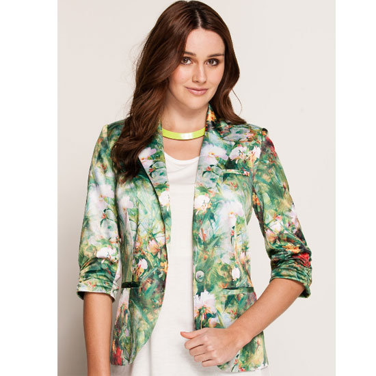 Try: A tropical print in a softer, pastel palette won't be as in your face.  Wear it with: Washed out chambray, white denim or pastel separates.   Buy: Blazer, $79.95, Dotti