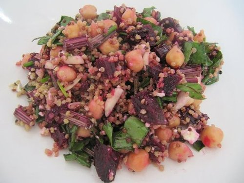 Blushing Quinoa, Roasted Beet, and Feta Salad with Chick Peas and Honey Balsamic Vinaigrette