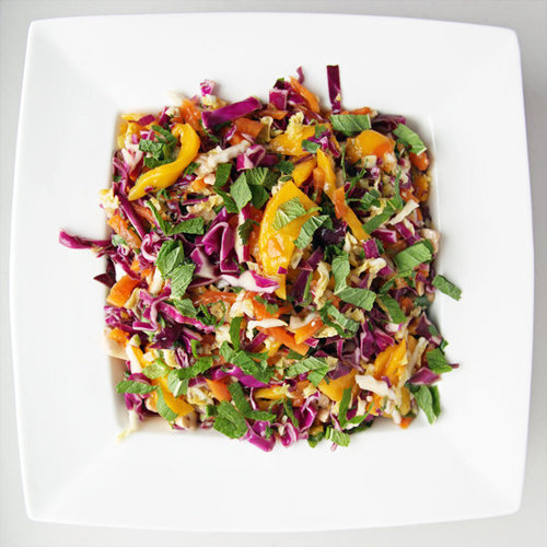 Spicy Mango, Papaya and Cabbage Slaw