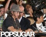 Johnny Depp signed autographs at Aerosmith's afterparty in LA.