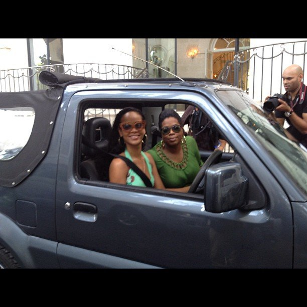 Oprah got a lift from Rihanna while interviewing her in Barbados. Source: Instagram user oprahwinfrey