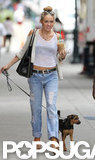Miley Cyrus went on a coffee run in Philadelphia with her dog, Happy.