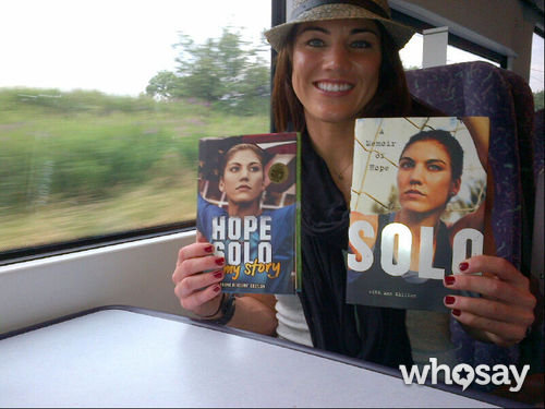 Hope Solo caught up on reading while taking a train to Manchester for a soccer match.  Source: Hope Solo on WhoSay