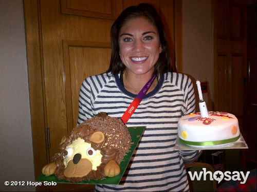 Hope Solo's soccer teammates helped her celebrate her birthday with two cakes.  Source: Hope Solo on WhoSay