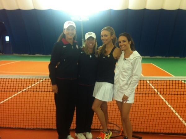 Lisa Raymond hit the court with Giuliana Rancic and Catt Sadler.  Source: Twitter user lisaraymond