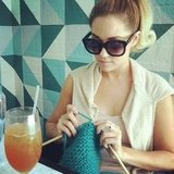 Lauren Conrad got to work on a knitting project. Source: Instagram user kristin_ess