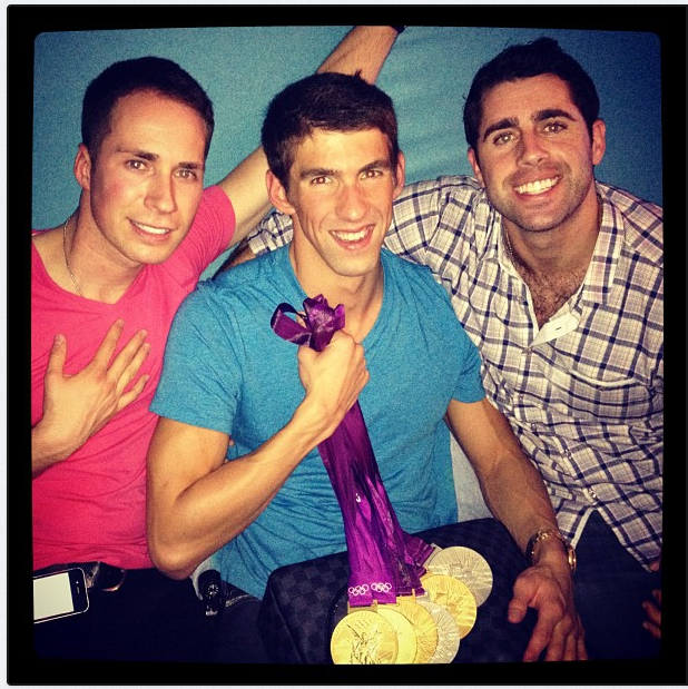 "Megan Rossee took a photo of Michael Phelps and his medals in August with the caption, ""Some of my favorite boys . . .  Watch out ladies."" Source: Twitter user MeganRossee"