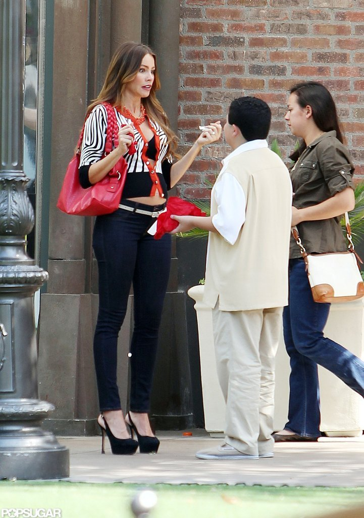 Sofia Vergara Bares a Baby Bump in a Bra on Set