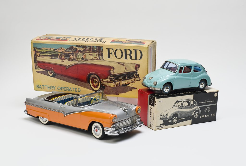Ford convertible toy car with original box, circa 1956.