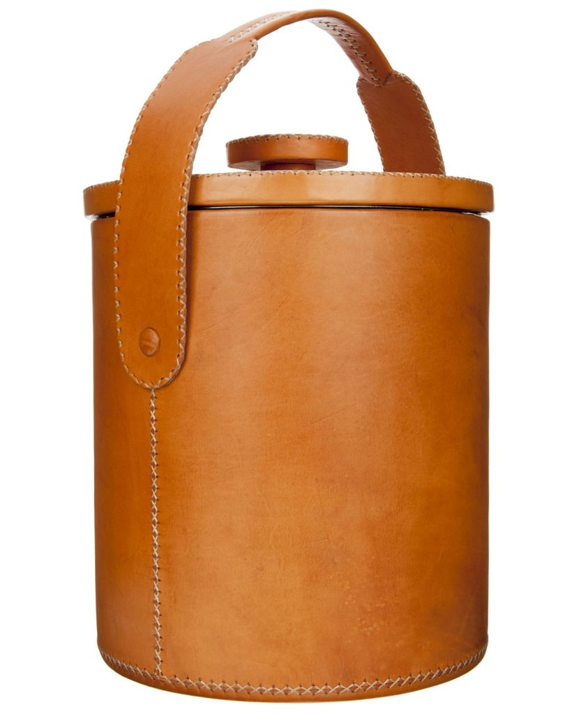 This chic leather camping cooler ($449) would make a major splash on a bachelor's liquor cart.