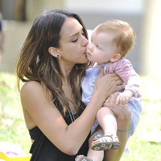 Jessica Alba Cute Family Pictures With Cash Warren, Honor and Haven at Beverly Hills Park