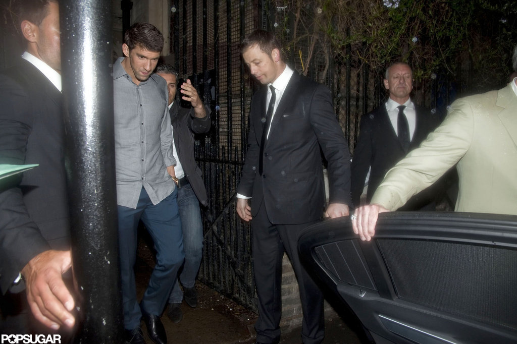 Michael Phelps walked to his car in London.