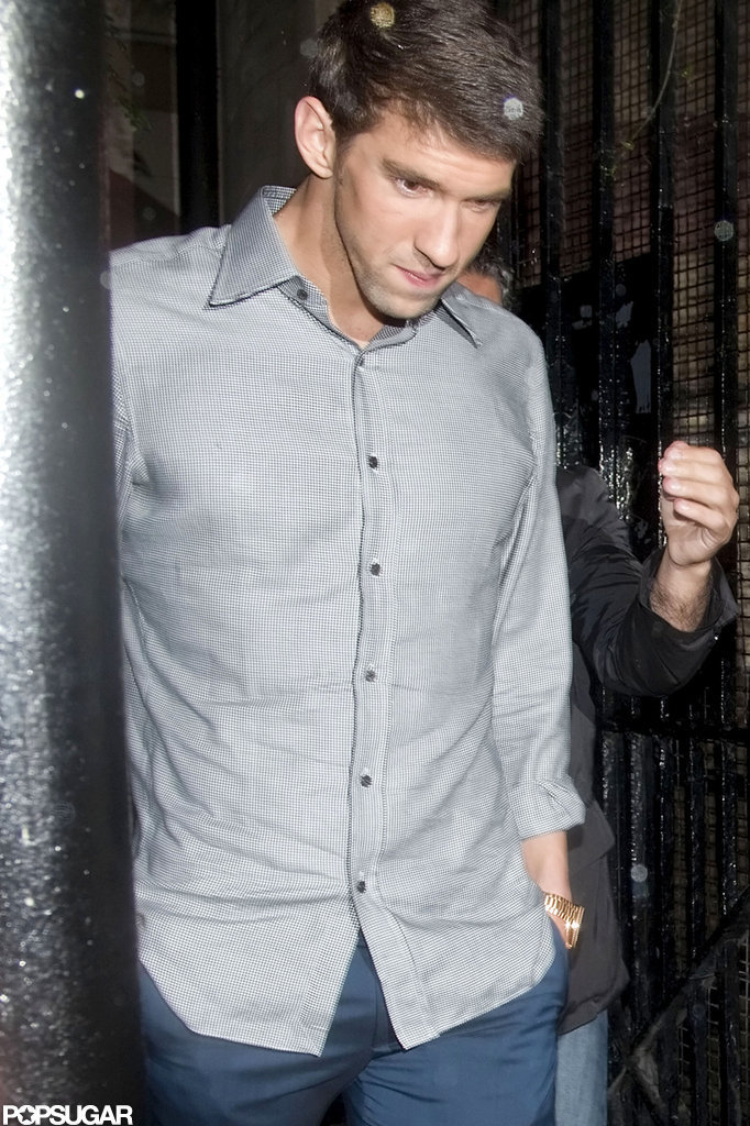 Michael Phelps made his way out of a party in London.