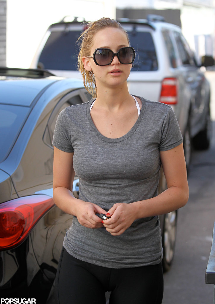 Jennifer Lawrence walked into a workout in LA.