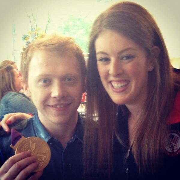Swimmer Allison Schmitt ran into Harry Potter star Rupert Grint in London. Source: Twitter user arschmitty