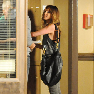 Jennifer Aniston Showing Her Bra on Set