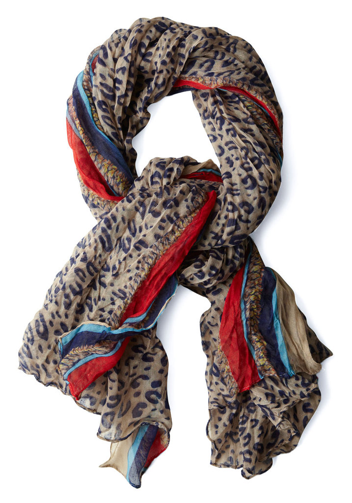 My wardrobe consists of mostly staple clothing, so eye-catching accessorizes are a must. The cheetah print pattern and bursts of color on this  ModCloth scarf ($25), would give me the extra spunk I need.  -– Colleen Doyle, editorial intern
