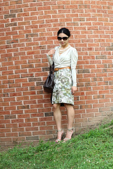 Stone Wrap Top & Demure Floral Skirt