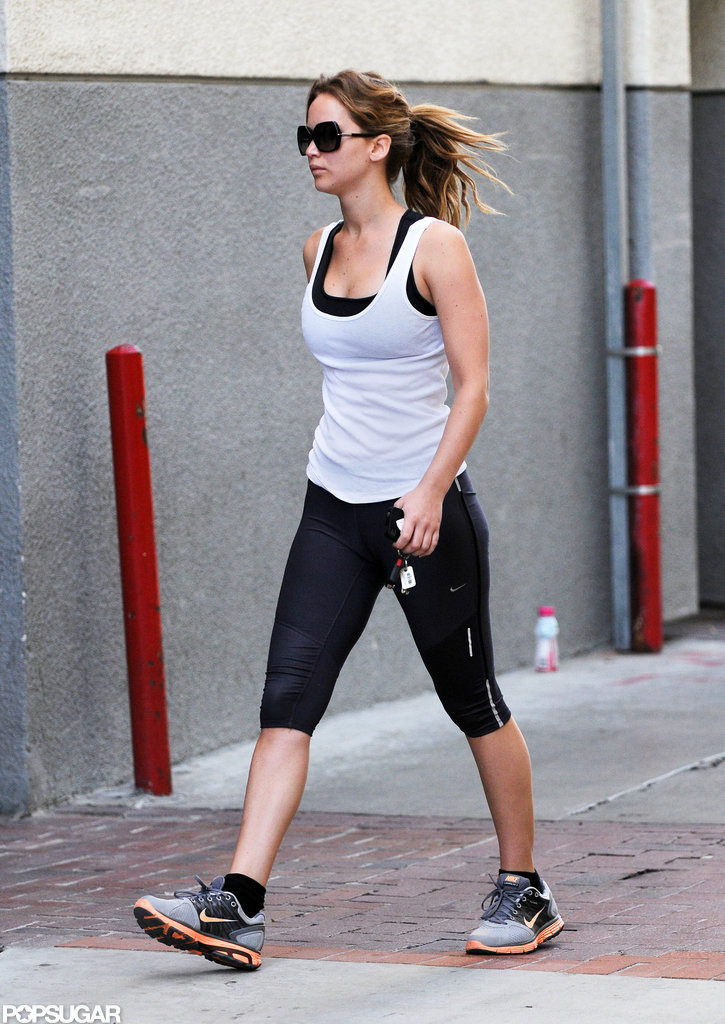 Jennifer Lawrence donned Nike sneakers for her workout.