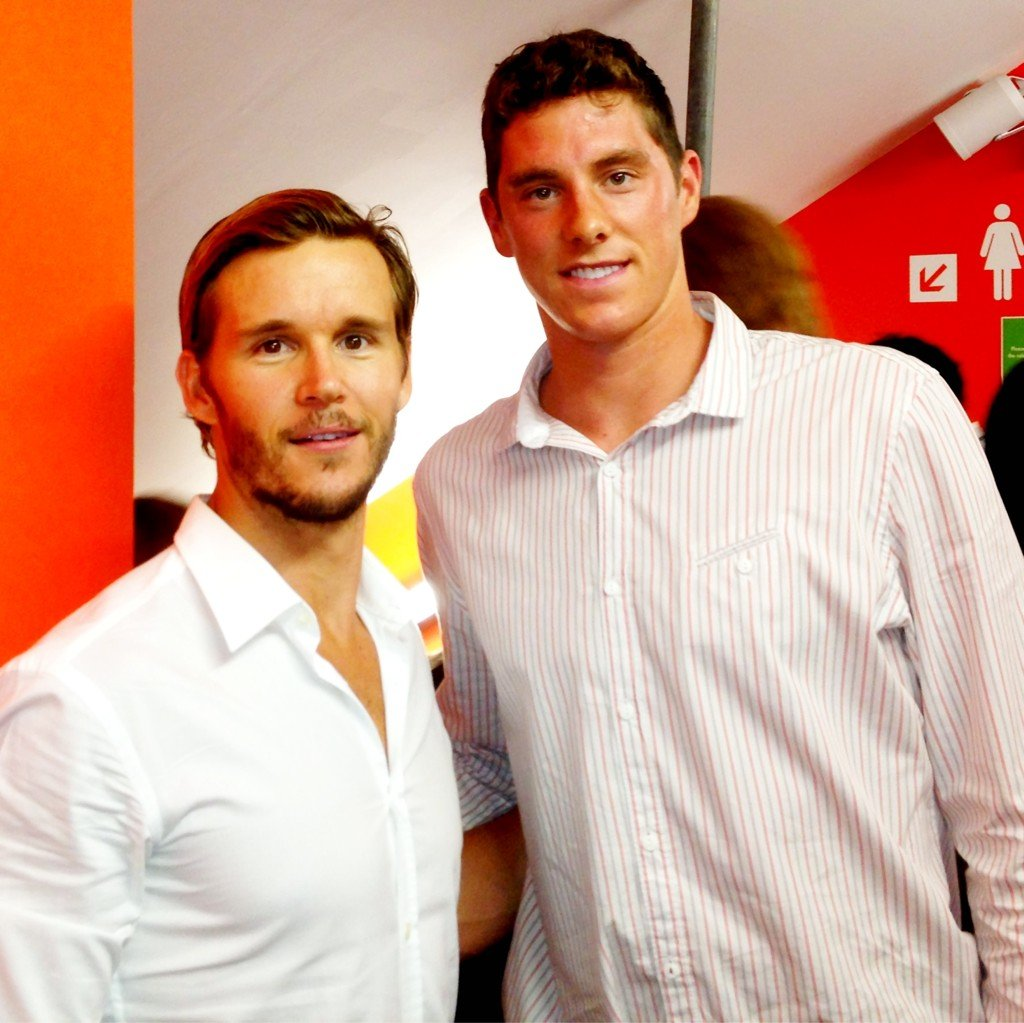 Conor Dwyer ran into True Blood's Ryan Kwanten in London. Source: Twitter user conorjdwyer