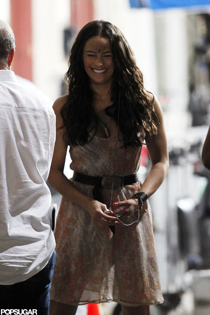 Paula Patton was all smiles during the night shoot.