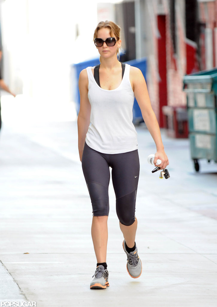 Jennifer Lawrence showed off her fit figure in her workout clothes.
