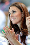 Kate Middleton cheered on the teams of the women's synchronized swimming event at the London Olympic Games.