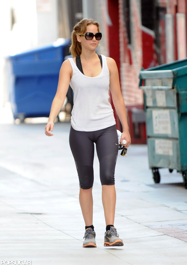 Jennifer Lawrence squeezed in time at the gym before a press luncheon.