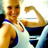 Bar Refaeli showed off her guns after a workout. Source: Instagram user barrefaeli
