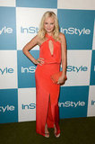 Malin Akerman vamped it up in a halter keyhole Cushnie et Ochs cutout dress in the silkiest blood orange hue at this year's InStyle Summer Soiree.