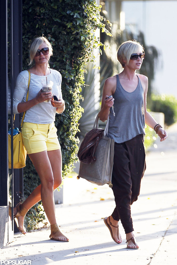 Cameron Diaz and Portia de Rossi walked out of the hair salon together.