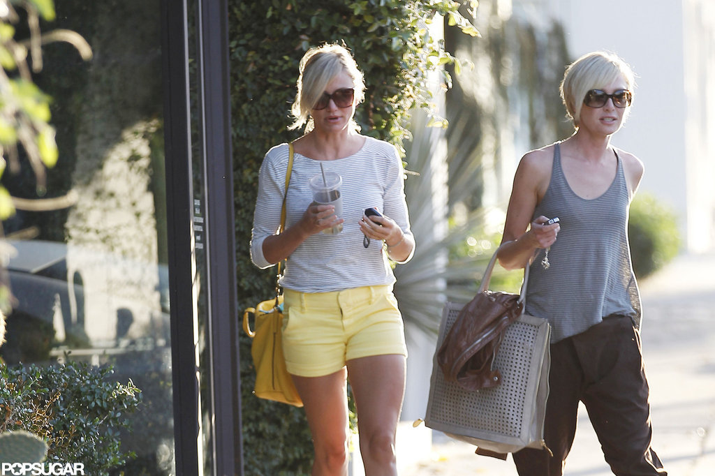 Cameron Diaz and Portia de Rossi walked out of the hair salon at the same time.
