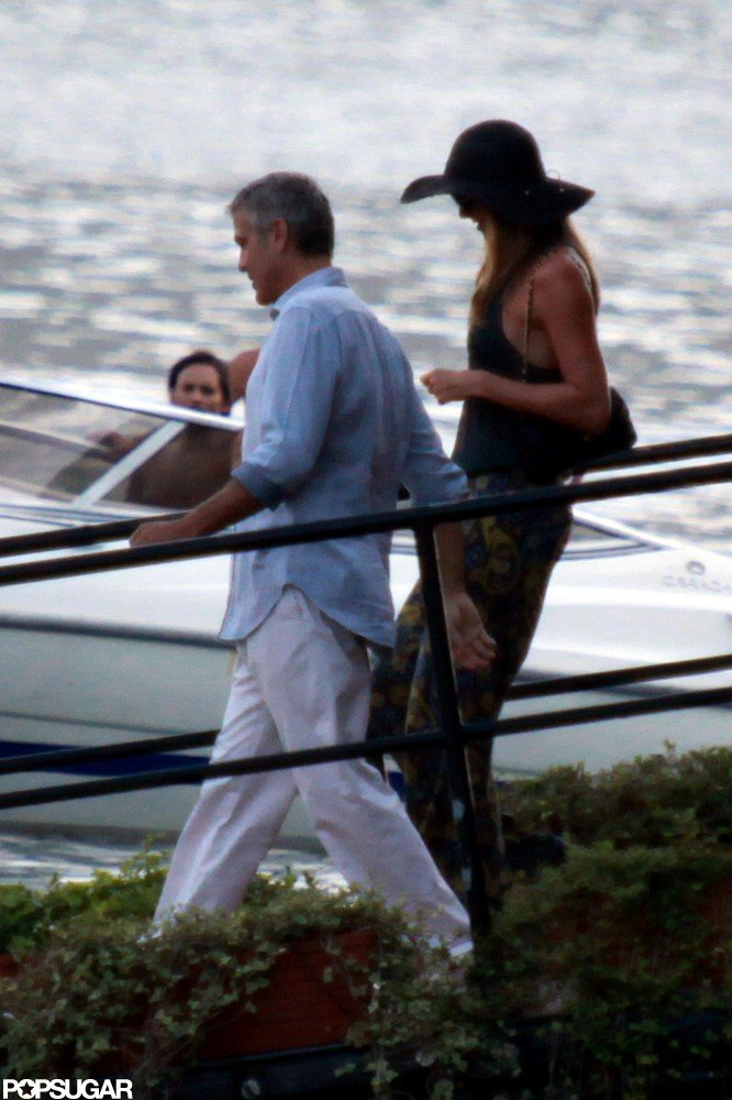 George Clooney and Stacy Keibler boarded George's boat in Lake Como earlier this month.
