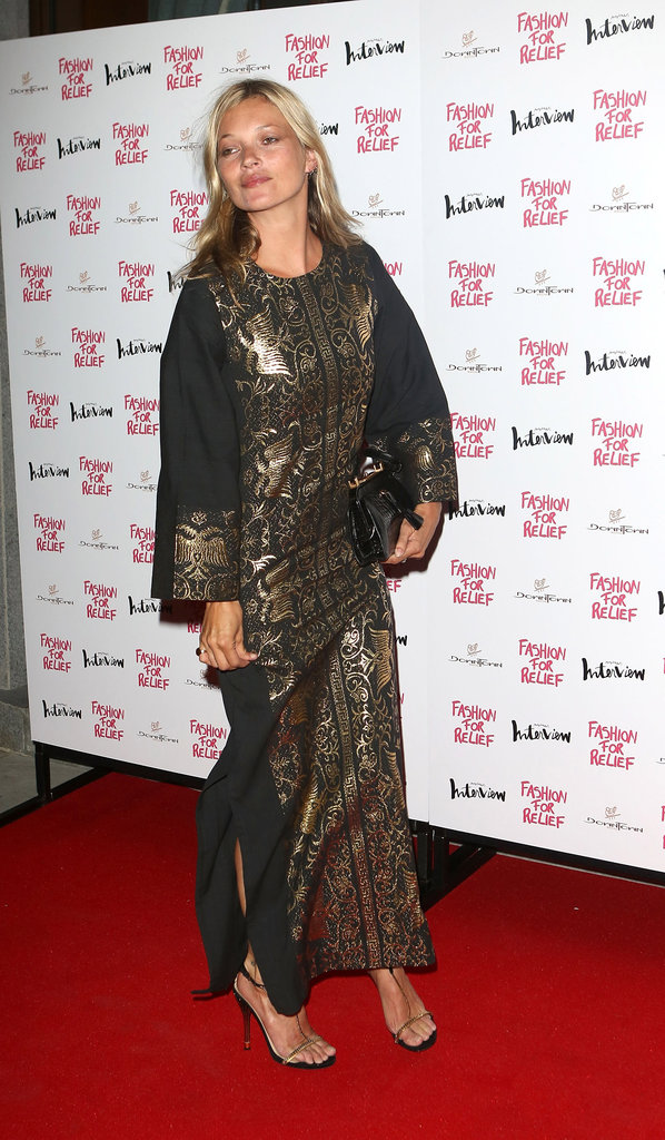 Kate Moss posed at Naomi Campbell's Fashion for Relief charity dinner in London.
