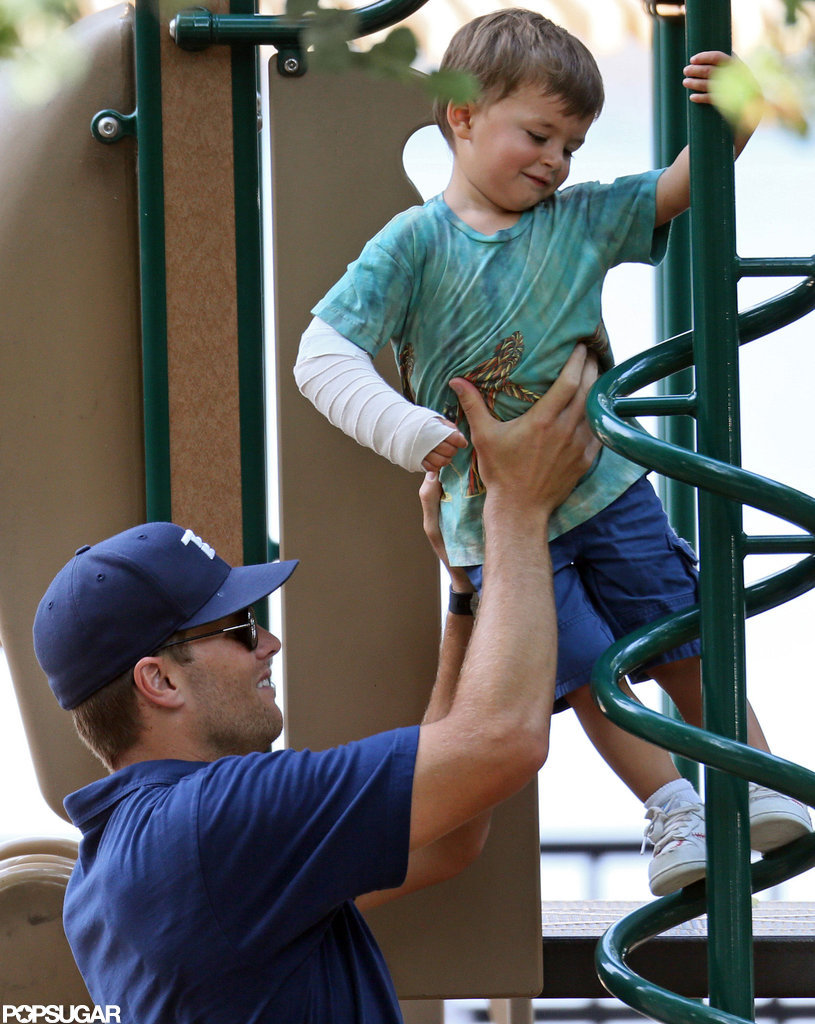 Tom Brady helped Benjamin climb the playground equipment.