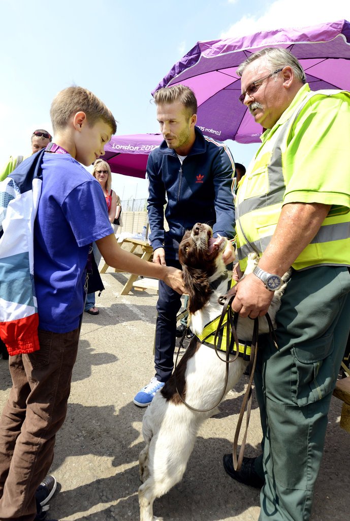 Romeo Cruz petted the sniffer dog.