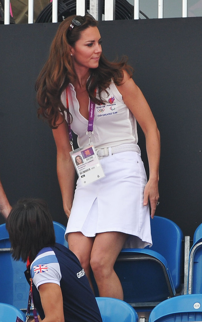 Arguably the UK's biggest Olympics fan, Kate Middleton stepped out for day 14 events in an all-white outfit. Her sleeveless polo was tucked into a crisp skirt, then cinched with a white belt.