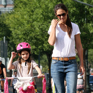 Katie Holmes Teaches Suri How to Ride a Bike