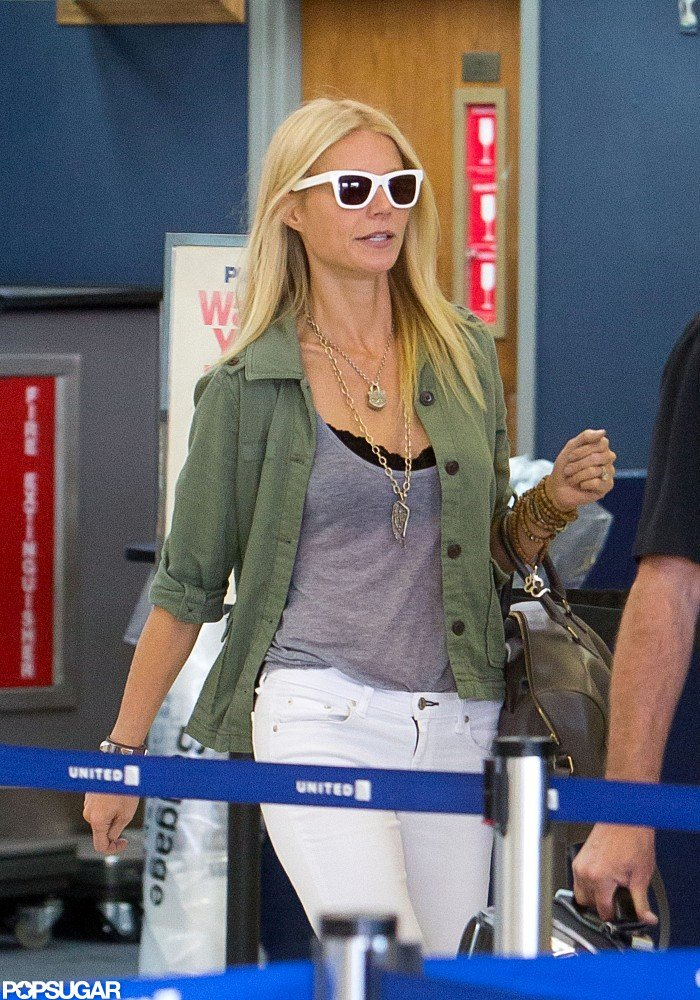 Gwyneth Paltrow piled on necklaces.