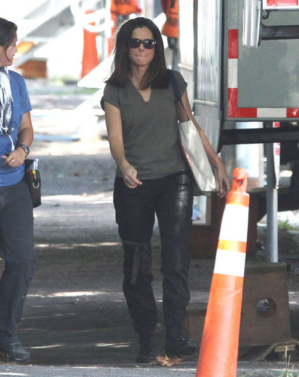 Sandra Bullock stepped out of her trailer on the set of The Heat.