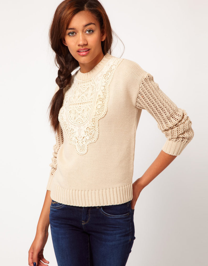 This lace-bib sweater is perfect for wearing with corduroy skinnies. River Island Chelsea Girl Victoriana Sweater ($42, originally $60)